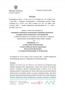 Akredytacja Progenis Bank Komórek Macierzystych Minister Zdrowia